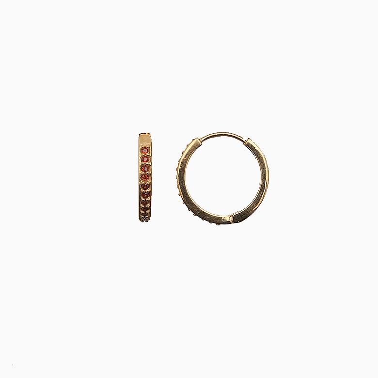Creol ørering af guld med zirkoner, rød   no. 712