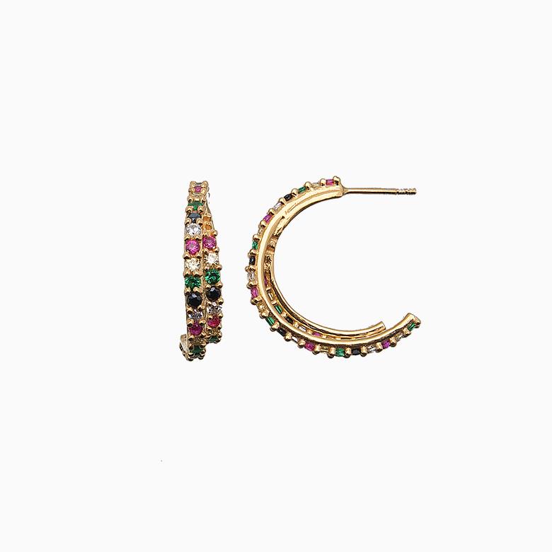 Øreringe, multicolor zirkoner/ guld | no. 719
