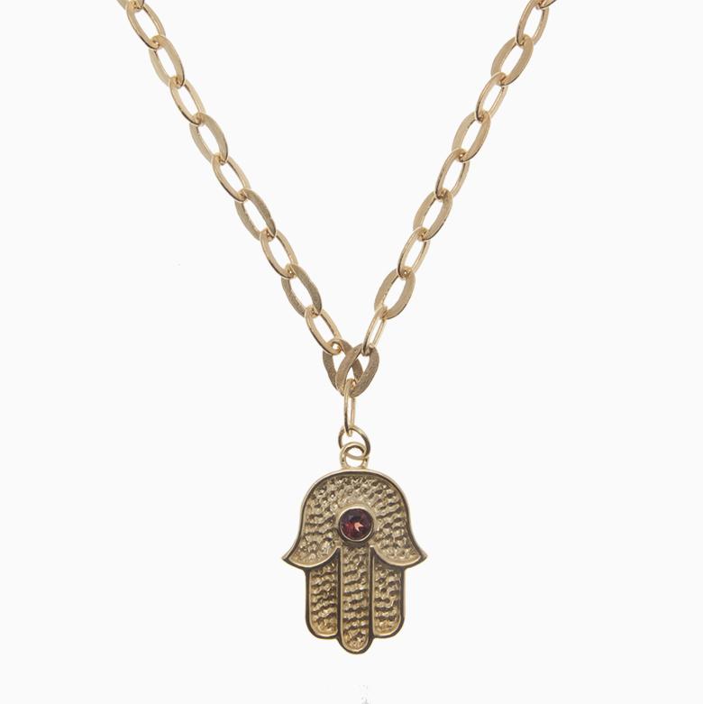 Halskæde med hånd og zirkon, guld | no. 826