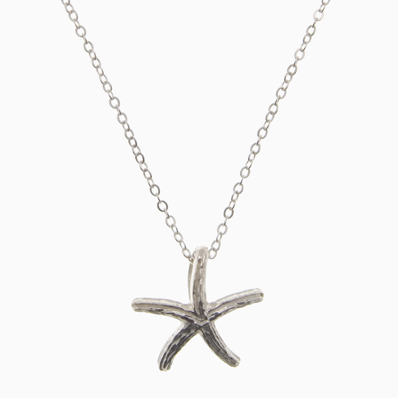Halskæde med søstjerne, sølv | no. 828