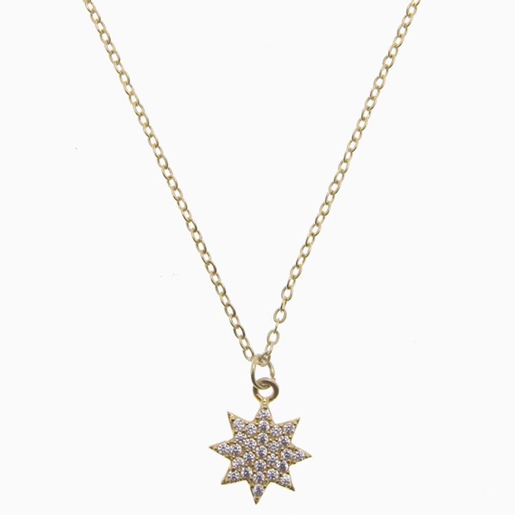 Halskæde med guldstjerne m. zirkoner | no. 829