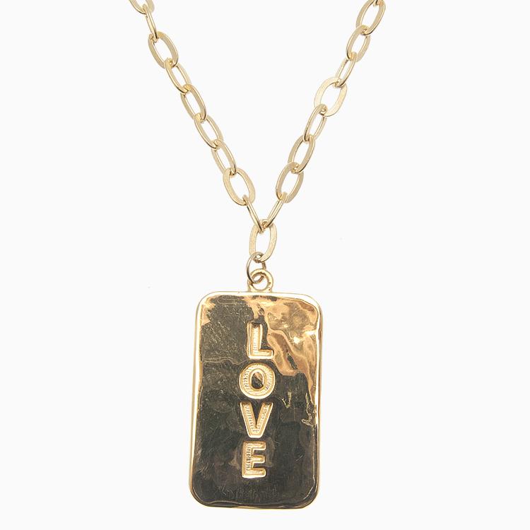 Halskæde med LOVE tag, guld | no. 831