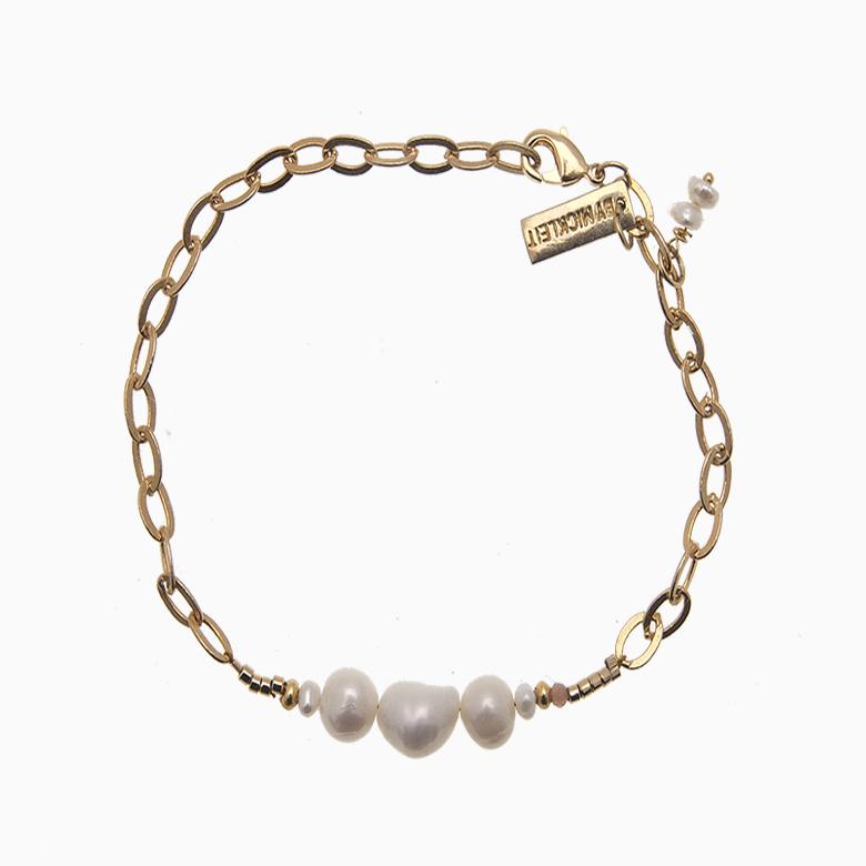 Armbånd med chunky guldkæde og perler   no. 57