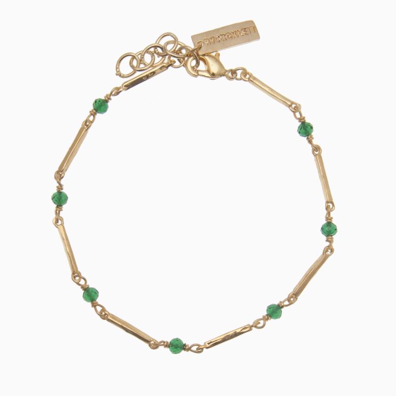 Zirkon armbånd m. guldstave og gemstones, grøn | no. 66