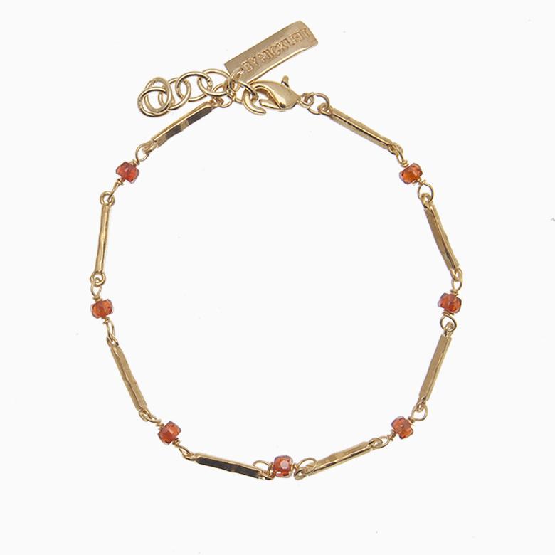 Zirkon armbånd m. guldstave og gemstones, rød   no. 67