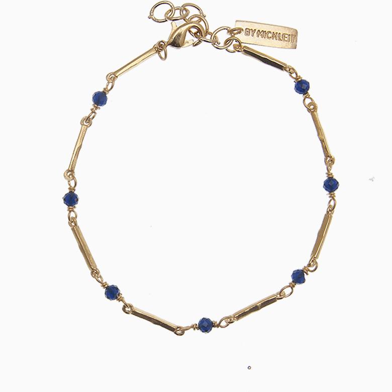 Zirkon armbånd m. guldstave og gemstones, blå | no. 68