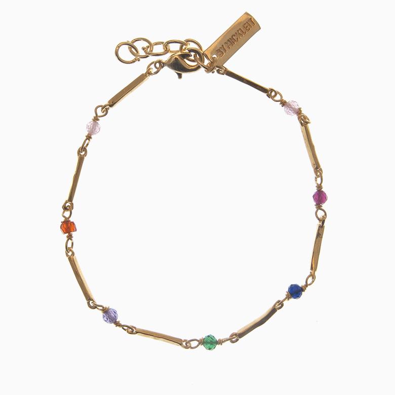 Zirkon armbånd m. guldstave og gemstones, multicolor | no. 69