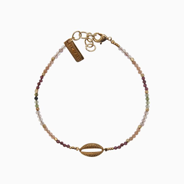 Gemstone armbånd med guld konkylie, | no. 11D