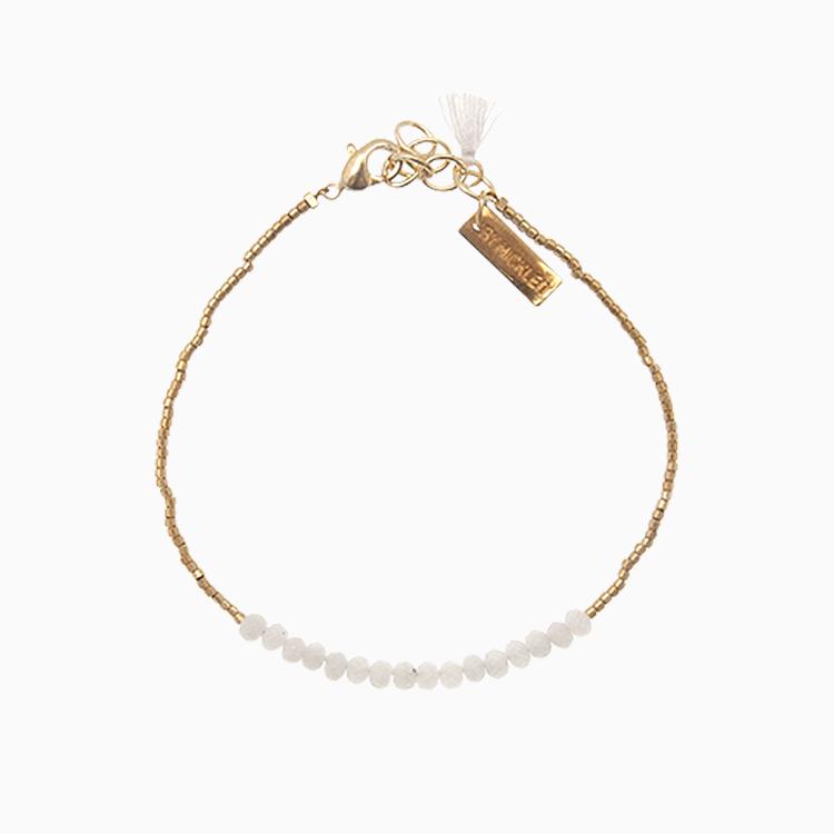 Armbånd med guldperler og hvide gemstones, | no. 18K