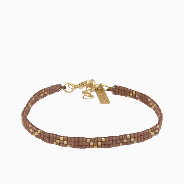 Vævet armbånd med guldperler, brun   no. 2J