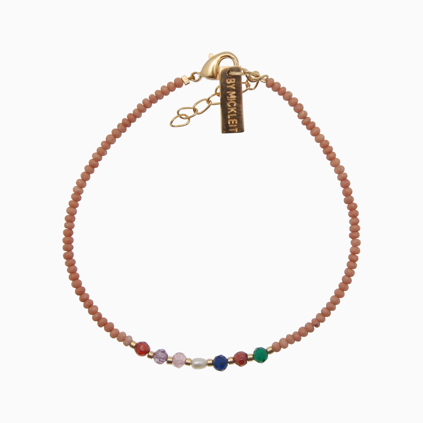 ByMickleit Vævet armbånd med perler, brun | no. 40 | Cassandra