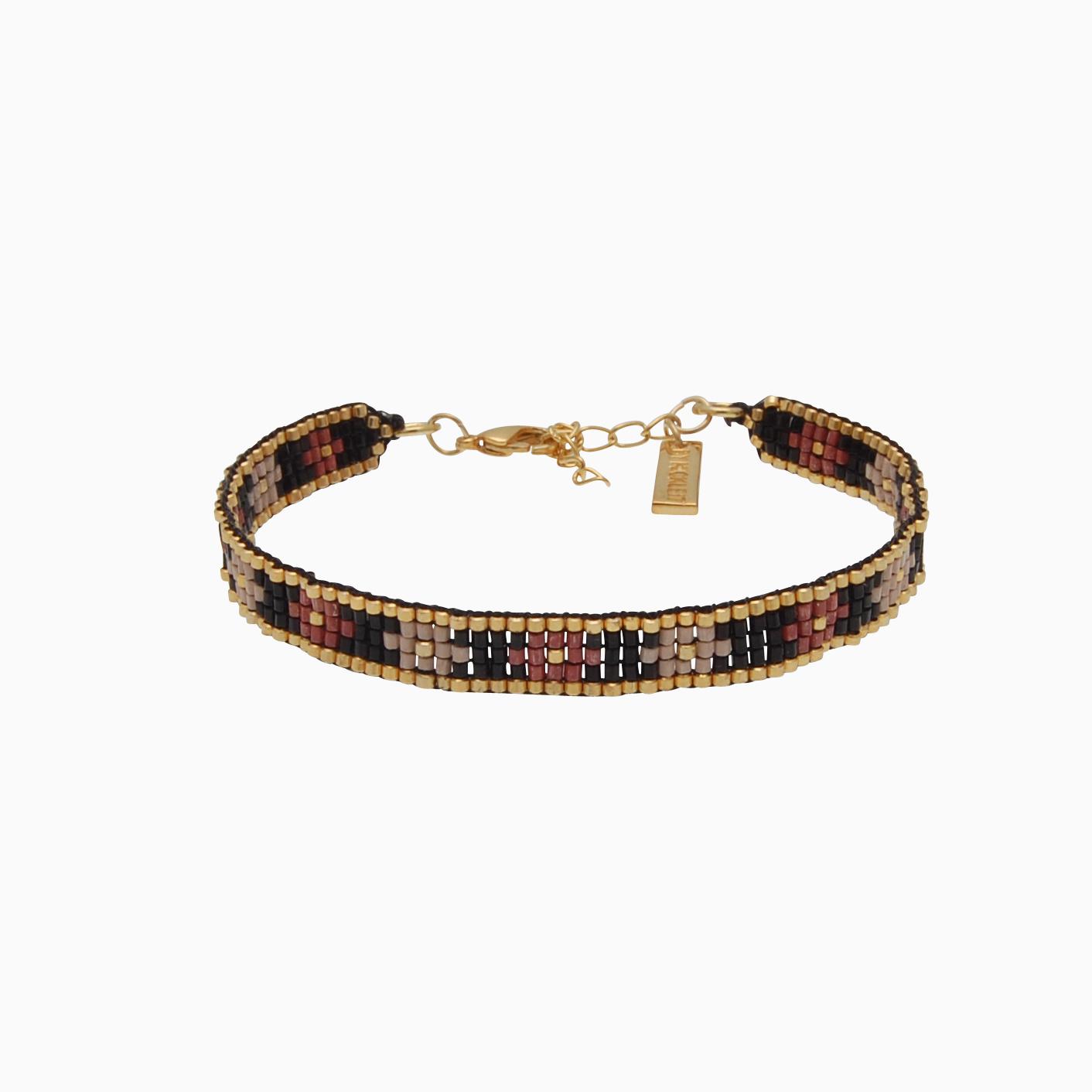 Vævet armbånd med perler, sort/nude | no. 105