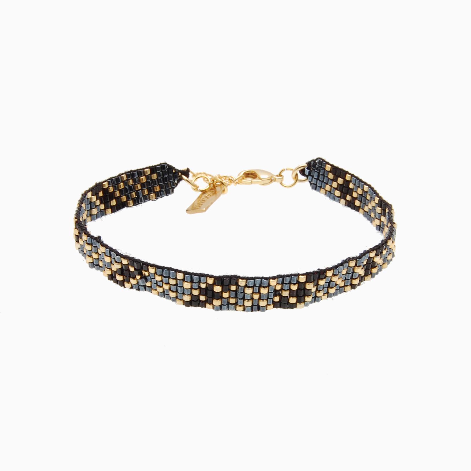 Vævet armbånd med perler, sort/grå | no. 106