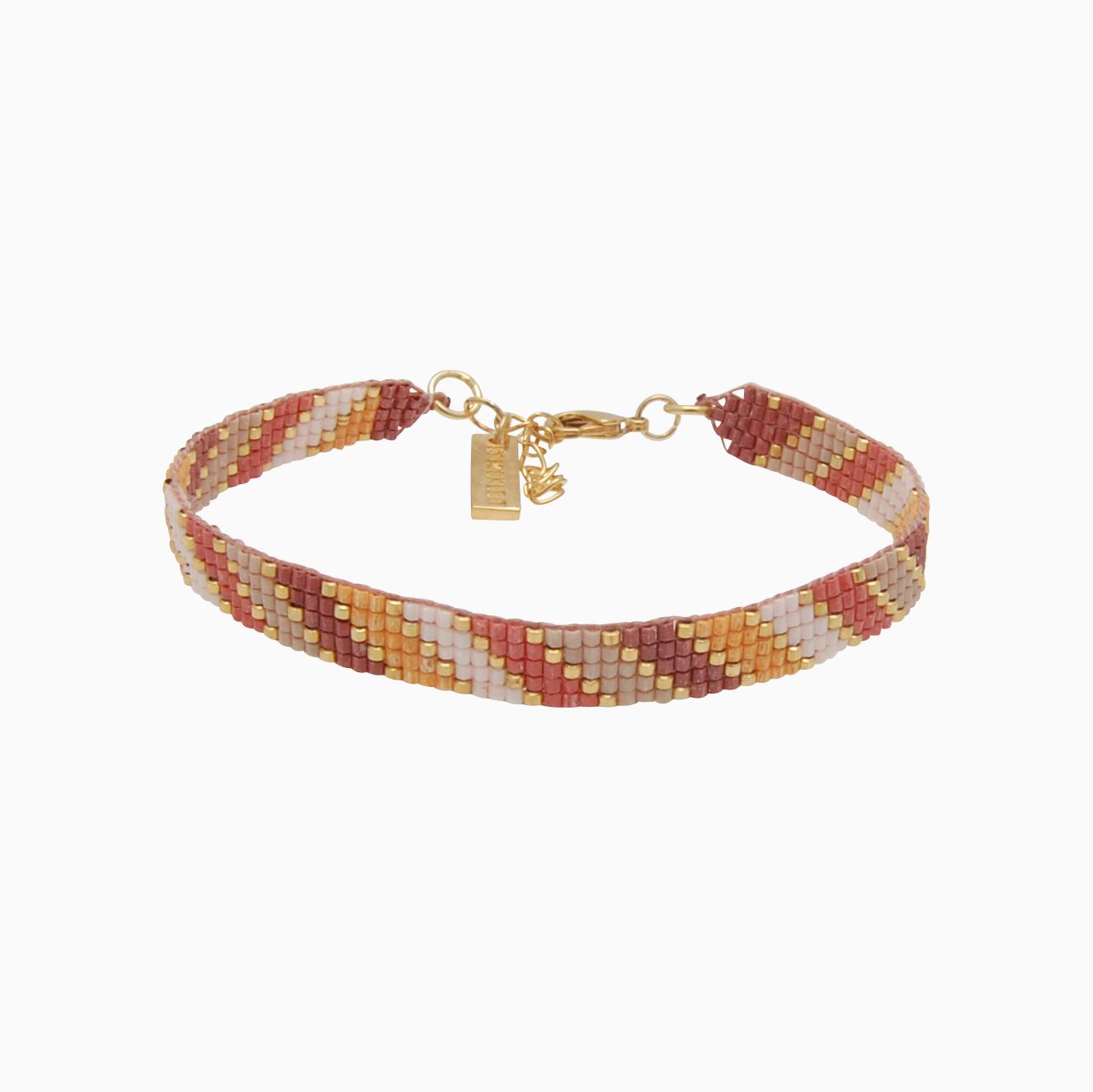 Vævet armbånd med perler, rosa/gul   no. 107