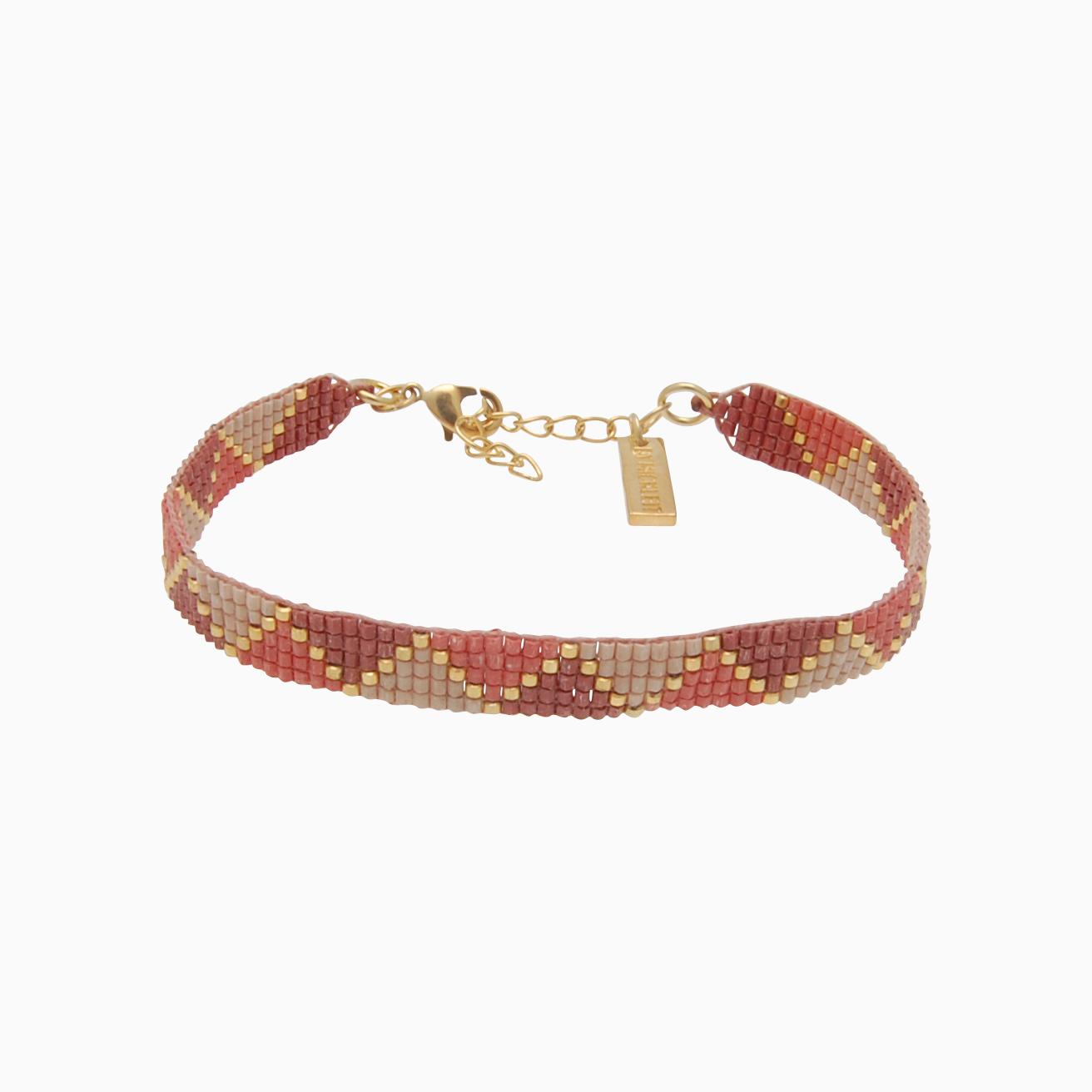 Vævet armbånd med perler, rosa/nude | no. 109