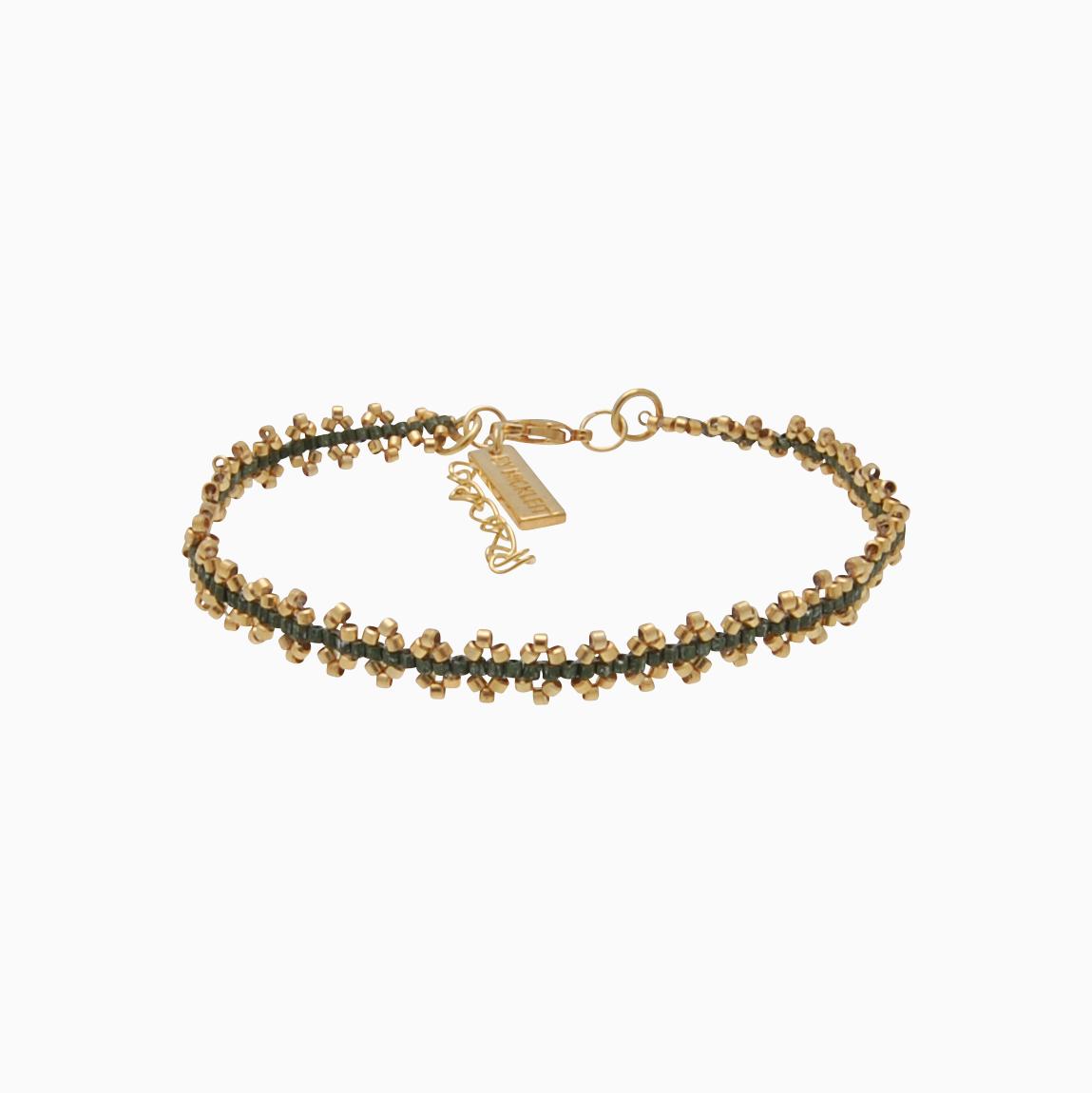 Vævet armbånd med guldperler, grøn | no. 120