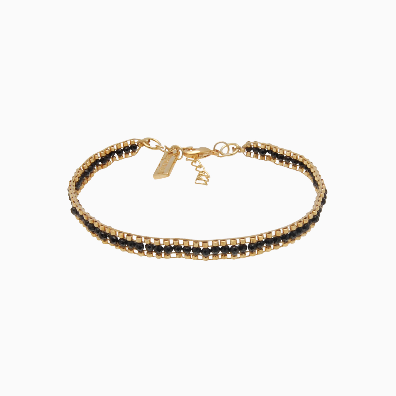 Vævet armbånd med guldperler, sort | no. 125