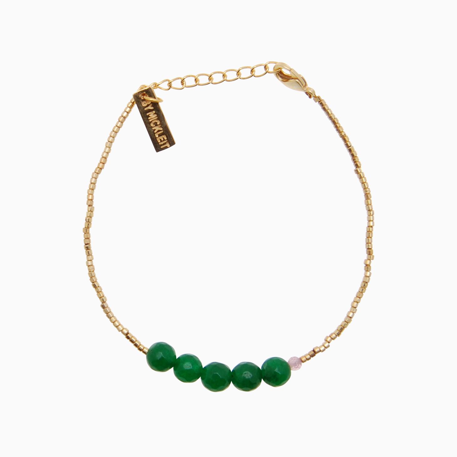 Armbånd med guldperler og gemstones, grøn | no. 137