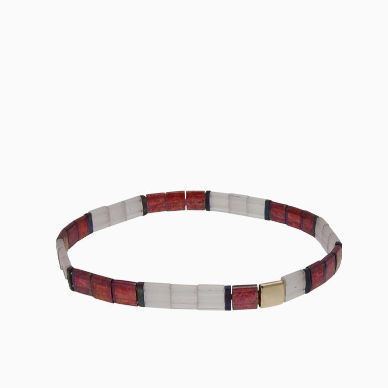 Armbånd  med fine firkantede perler | no. 155