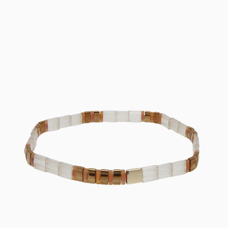 Armbånd  med fine firkantede perler | no. 156