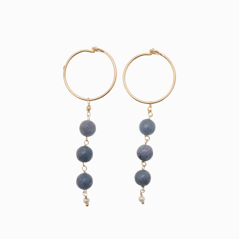 Runde creol øreringe med gemstones, blå | no. 426