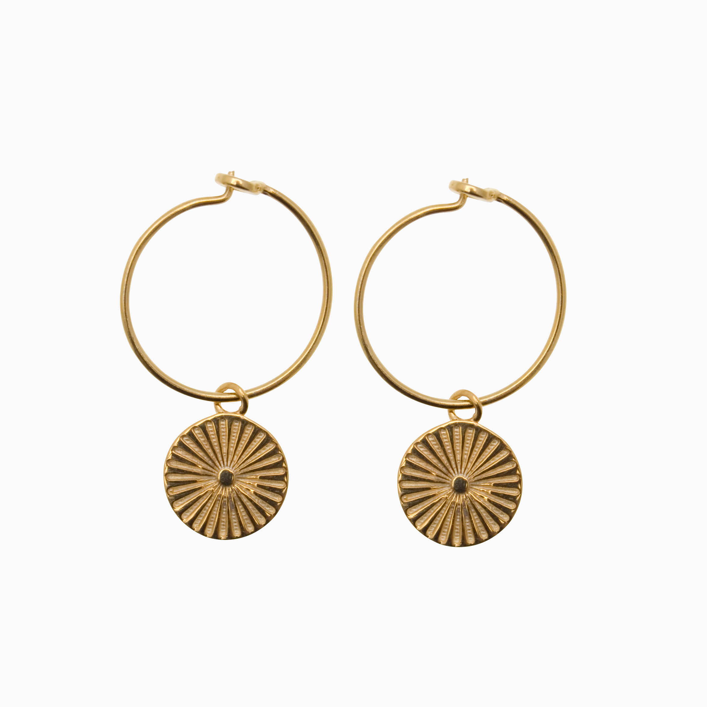 Runde creol øreringe med mønter, guld | no. 765