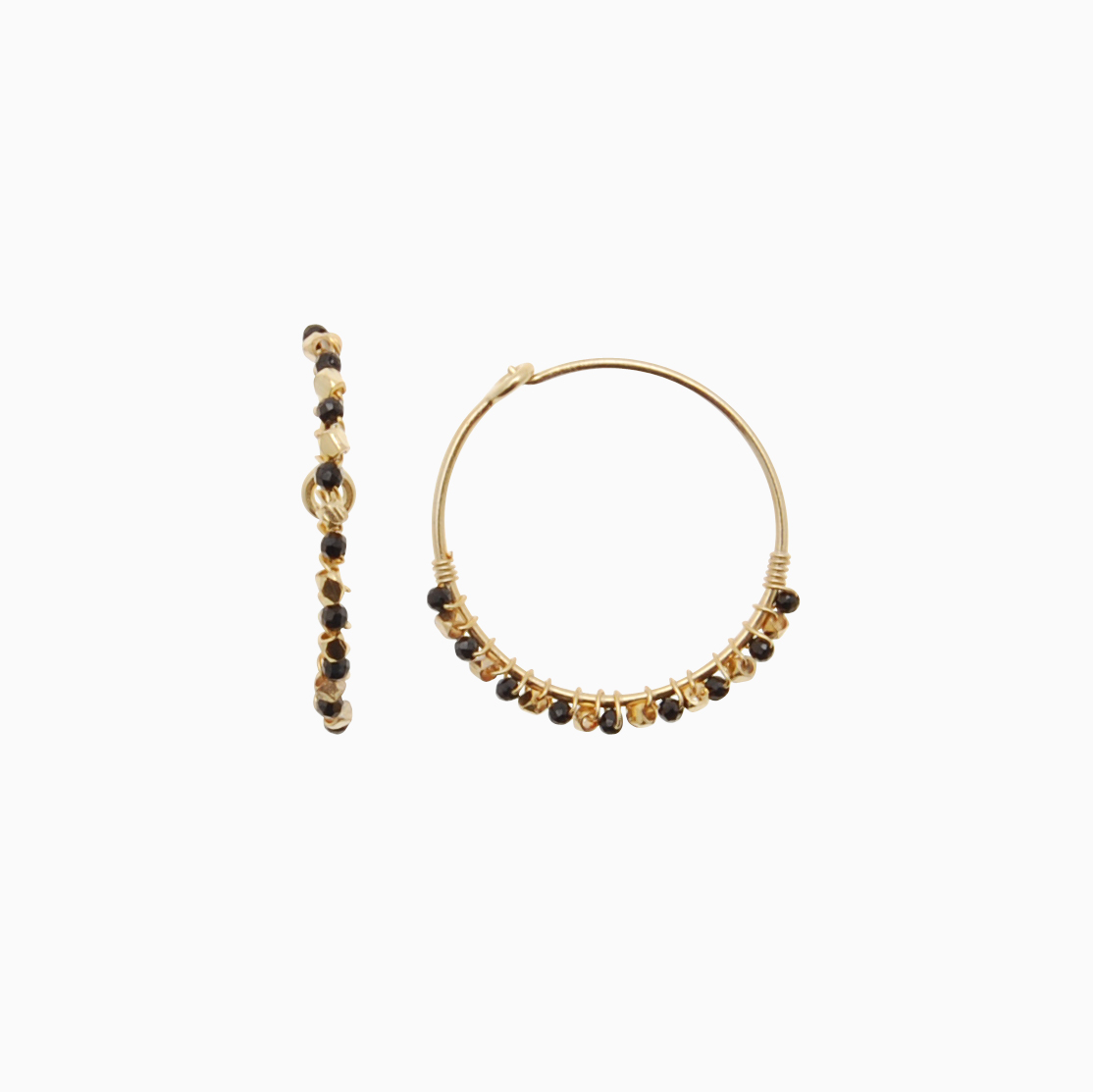 Runde creol øreringe med gemstones, grå | no. 771