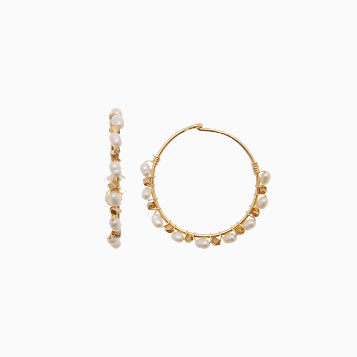 Runde creol øreringe med perler, hvid | no. 772 – DESVÆRRE UDSOLGT