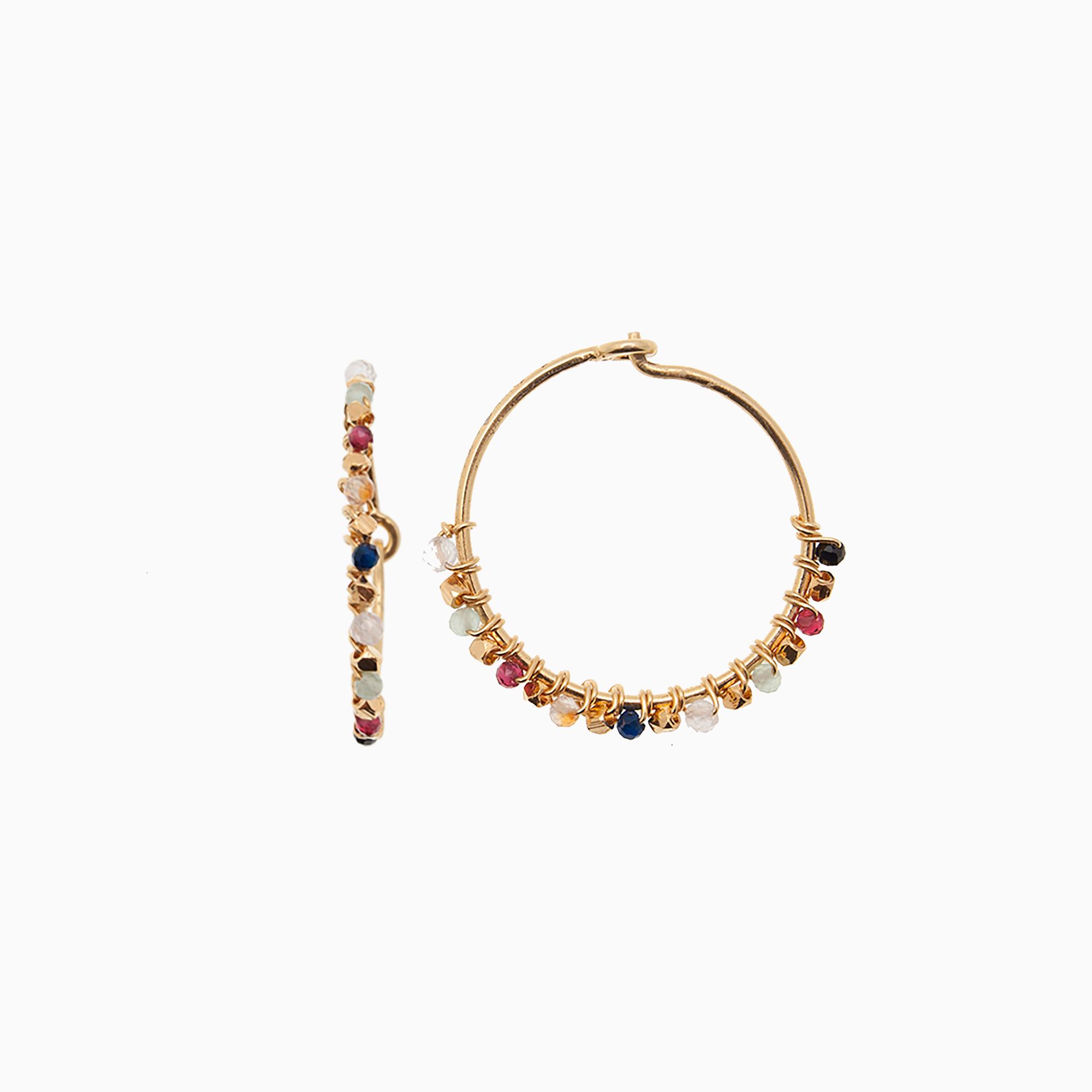 Runde creol øreringe med gemstones, multifarvet | no. 774- DESVÆRRE UDSOLGT