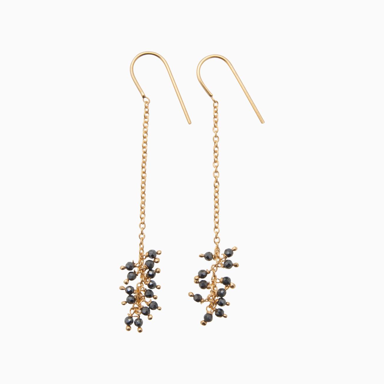 Øreringe med guldkæde og perler, grå | no. 775