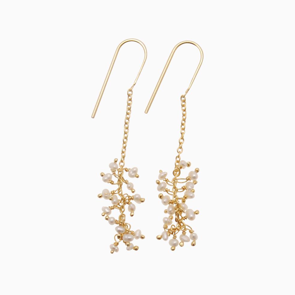Øreringe med guldkæde og perler, hvid | no. 776