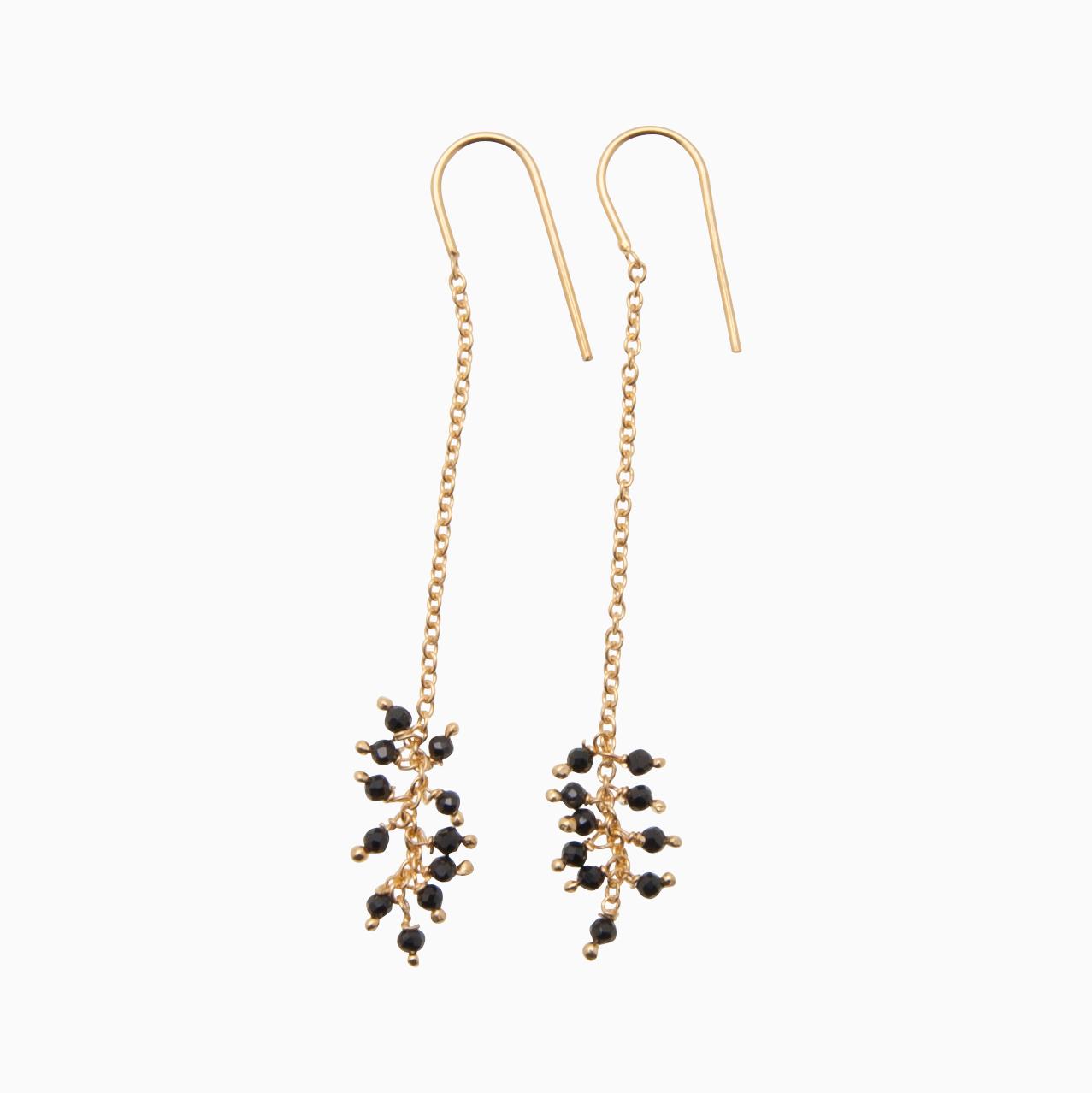 Øreringe med guldkæde og perler, sort | no. 777