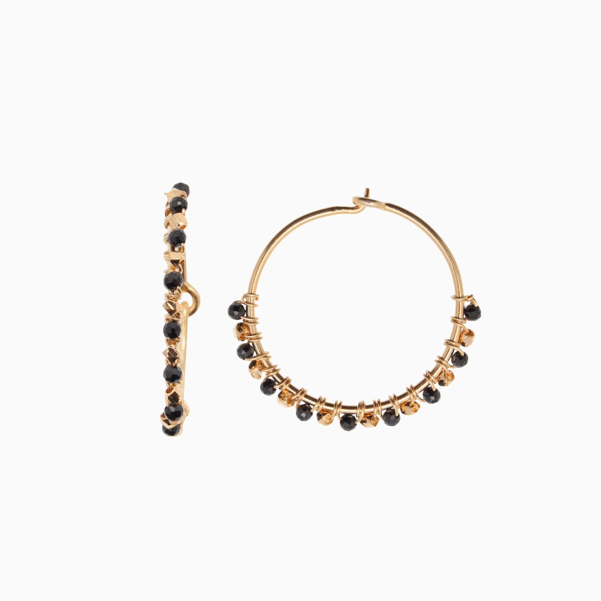 Runde creol øreringe med gemstones, sort   no. 773