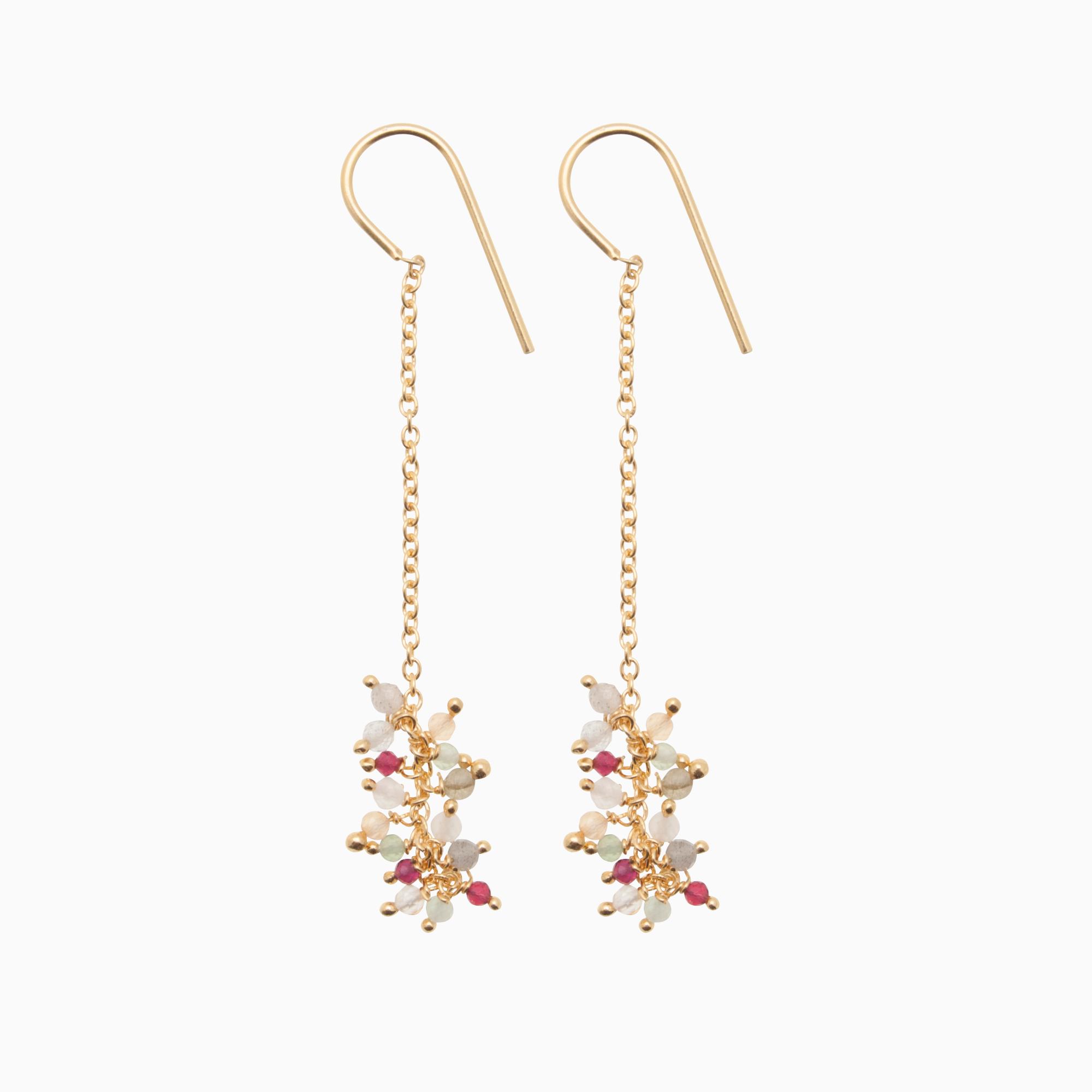 Øreringe med guldkæde og gemstones, multifarvet | no. 778