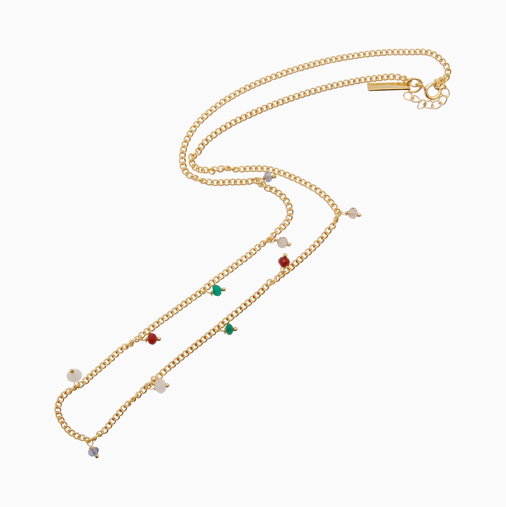 Halskæde med gemstones, multifarvet | no. 851