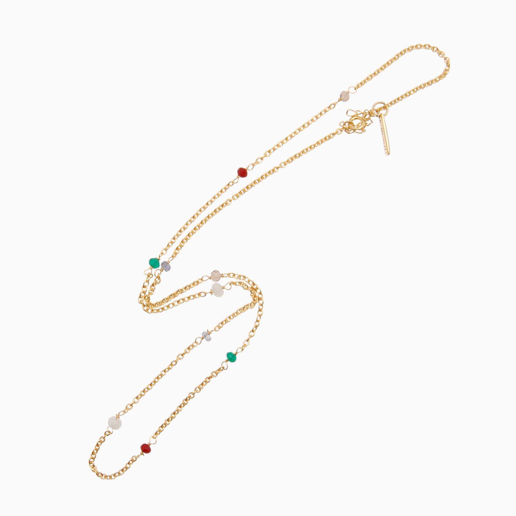 Halskæde med gemstones, guld | no. 857