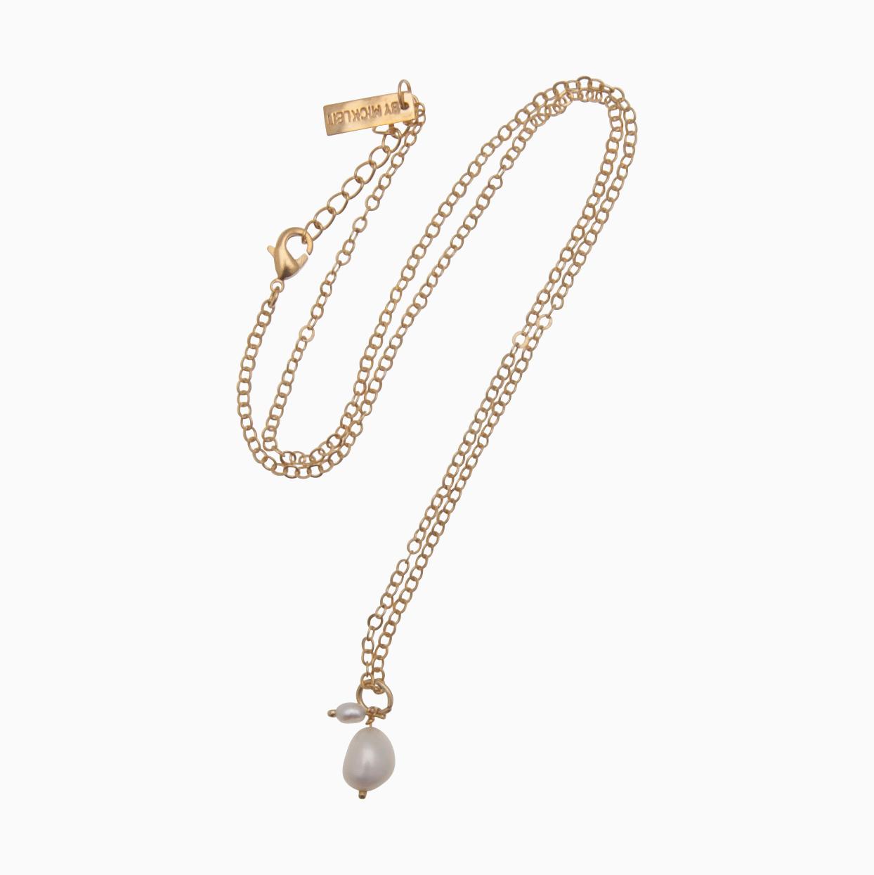 Halskæde med vedhæng af perler, guld | no. 859