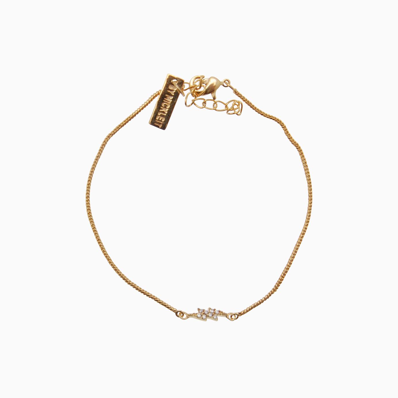 Armbånd i tynd snake kæde m. lyn, guld | no. 90