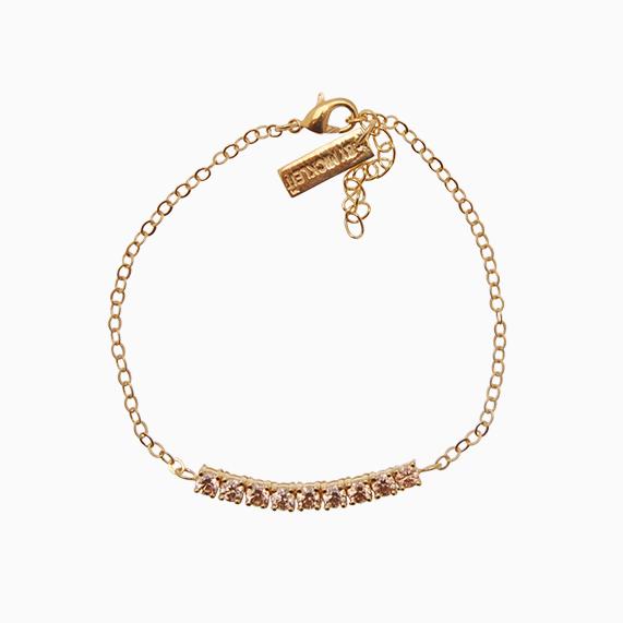 Tennis armbånd med kæde og zirkoner, champagne | no. 93