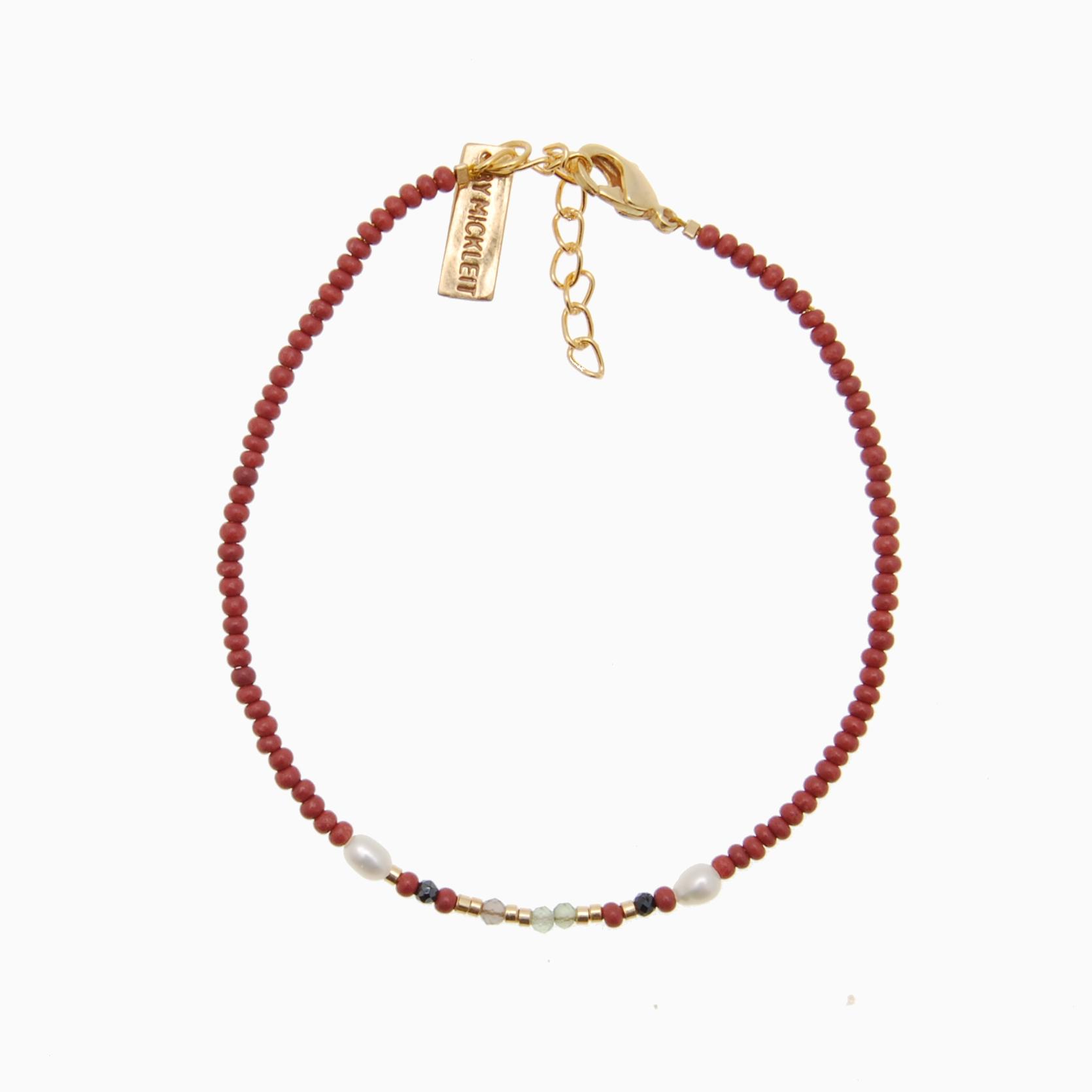 Perlearmbånd m. mix af gemstone ,Mørk rosa| no.101