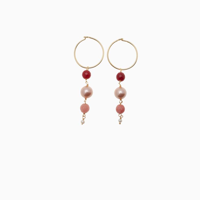 Creol øreringe med runde gemstone  no.428