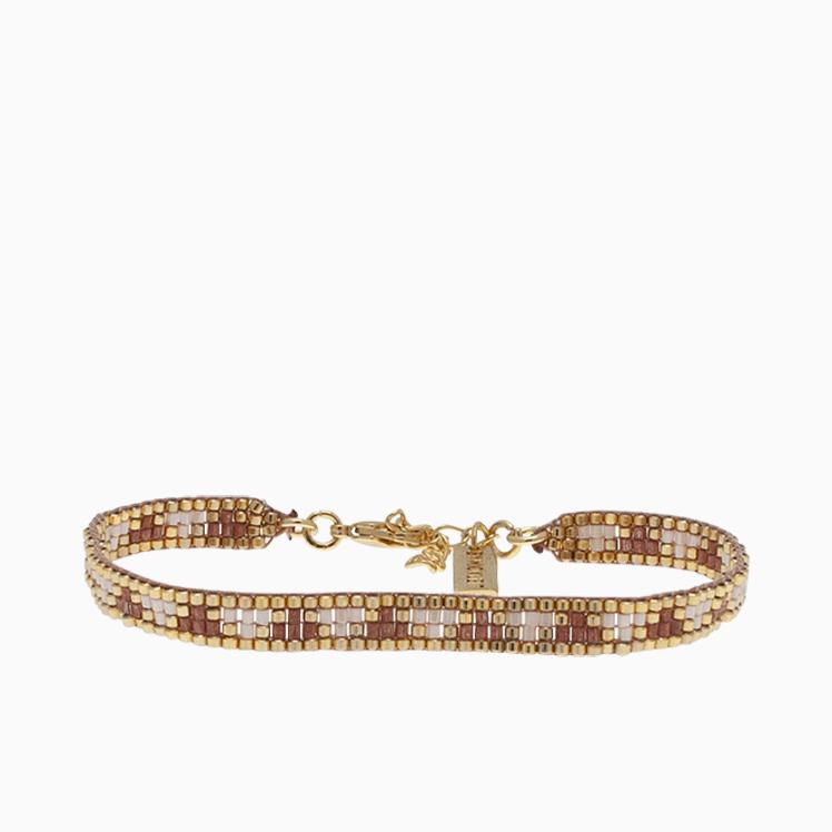 Vævet armbånd med perler, brun/nude | no.50