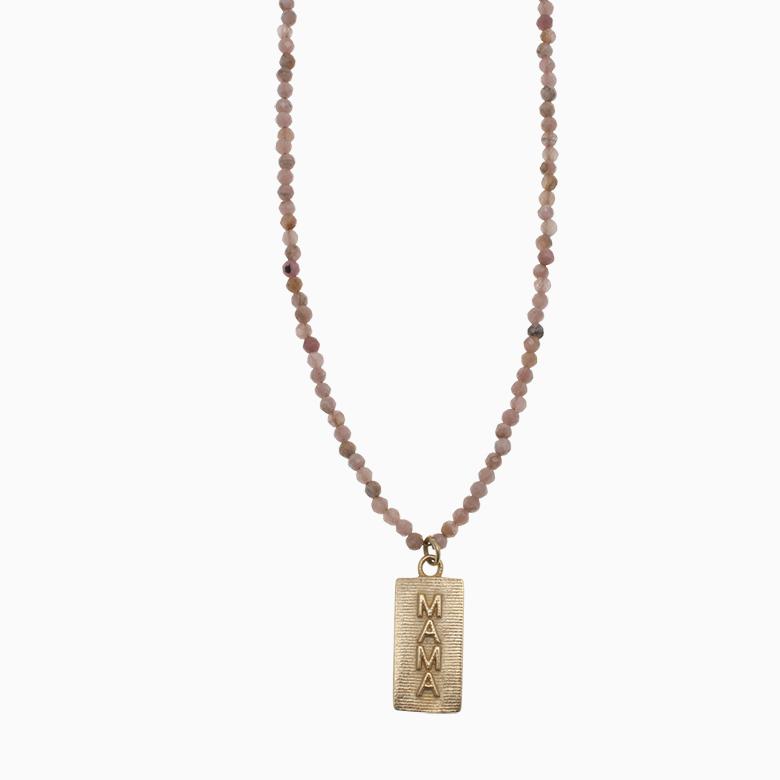 Halskæde af gemstones med MAMA logo   no. 870
