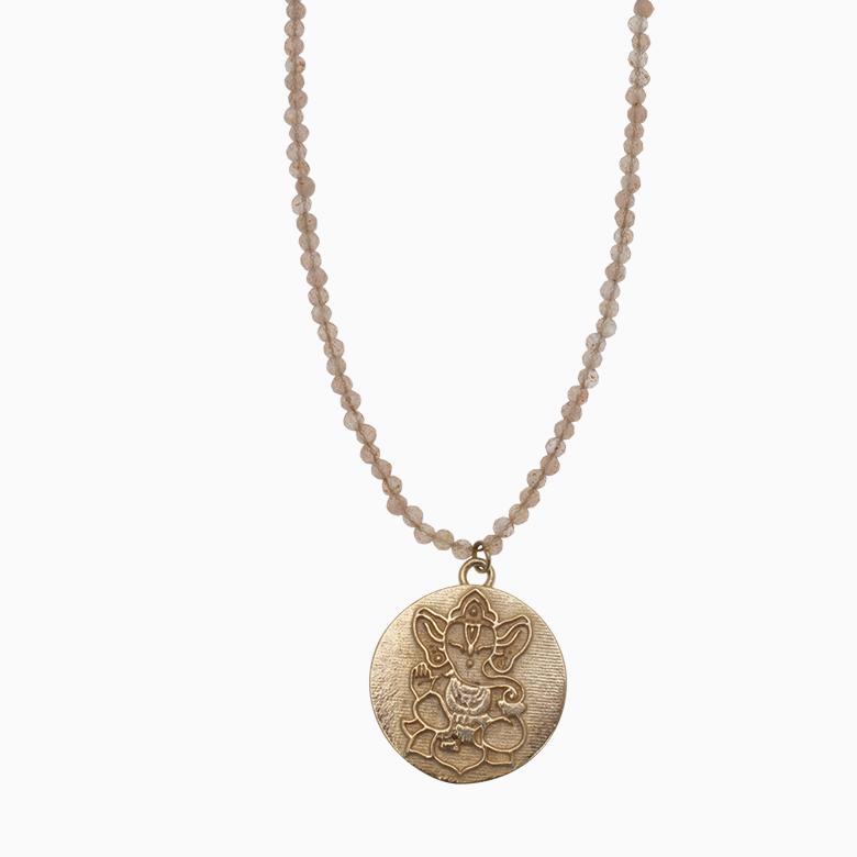 Halskæde af gemstone med Ganesh medaljon | no.871