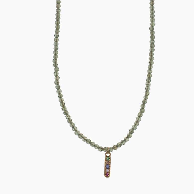 Halskæde af gemstone med zirkon vedhæng   no.872