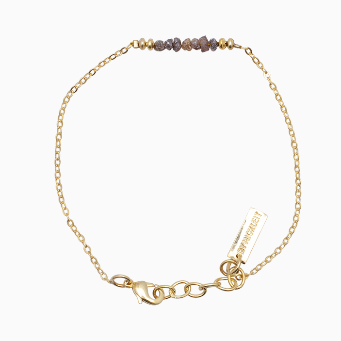 Armbånd med guldkæde og  rådiamanter   no.20C
